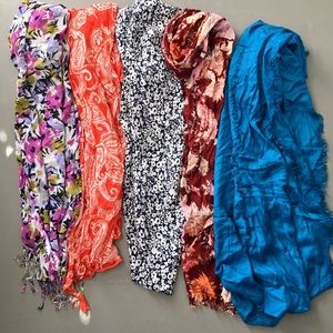 Set of 5! Colorful and Floral Scarf Bundle!